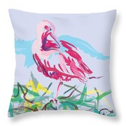 Bird Red Ibis Throw Pillow