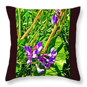 Bird Vetch On Bow River Trail In Banff National Park-alberta  Throw Pillow