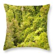 Bird View Of Lush Green Sub-tropical Nz Rainforest Throw Pillow