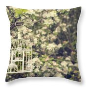 Birdcage In Blossom Throw Pillow