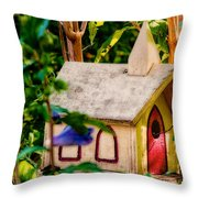 Birdhouse Church Throw Pillow