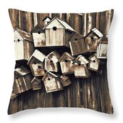 Birdhouse Condominium Throw Pillow