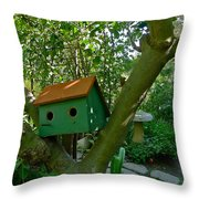 Birdhouse In A Tree Throw Pillow