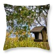 Where The Wild Birds Eat Throw Pillow