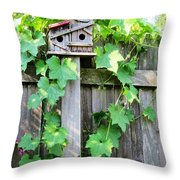 Birdhouse Sitting On A Fence Throw Pillow