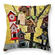 Birdhouse Subdivision Throw Pillow
