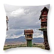 Birdhouses Throw Pillow