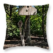 Birdhouses In The Trees Throw Pillow