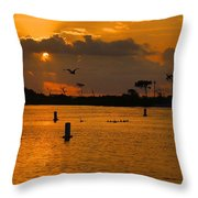 Birds And Bouys Sunrise Throw Pillow