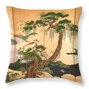 Birds And Flowers Of Spring And Summer Throw Pillow