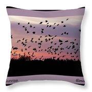 Birds At Sunrise Poster Throw Pillow