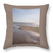 Birds At The Beach At Low Tide Throw Pillow