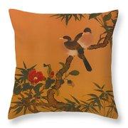 Birds Bamboo And Camellias Throw Pillow