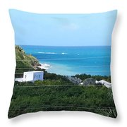 Birds Eye View Of The Studio At The Unfinished Mod Beachfront Dig Throw Pillow