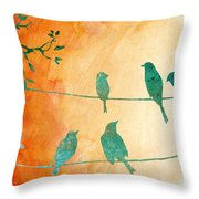 Birds Gathered On Wires-5 Throw Pillow
