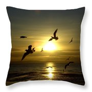 Birds Gathering At Sunset Throw Pillow