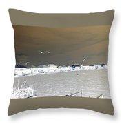 Birds In Flight Over Lafitte Bay Throw Pillow