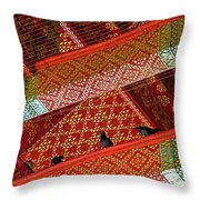 Birds In Rafters Of Royal Temple At Grand Palace Of Thailand  Throw Pillow