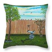 Birds In The Backyard Throw Pillow