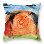 Birds In The Sun. A Black Bird Study 2013 Throw Pillow by Cathy Peterson