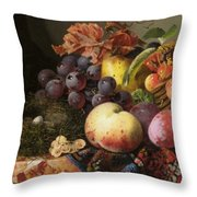 Birds Nest Butterfly And Fruit Basket Throw Pillow by Edward Ladell