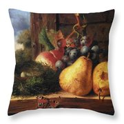 Birds Nest Butterfly And Fruit Throw Pillow by Edward Ladell