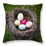 Bird's Nest With Easter Eggs Throw Pillow