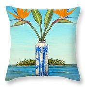 Birds Of Paradise Over Fiji Throw Pillow