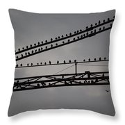 Birds On Crane Throw Pillow