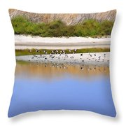 Birds On The River Bank Throw Pillow