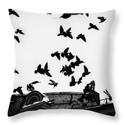 Birds Over City - Featured 3 Throw Pillow