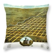 Birdseye View Of Austin Minnesota 1870 Throw Pillow