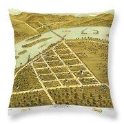 Birdseye View Of Prairie Du Sac Wisconsin 1870 Throw Pillow
