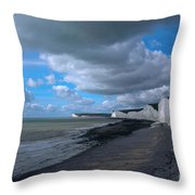 Birling Gap Beach Throw Pillow