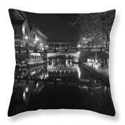 Birmingham Old Canal Bw Throw Pillow