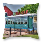 Birney Streetcar Circa 1920 Autobus Throw Pillow