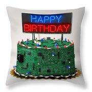 Birthday Cake For Geeks Throw Pillow