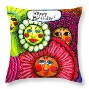 Birthday Flowers Throw Pillow