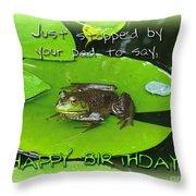Birthday Greeting Card - Bullfrog On Lily Pad Throw Pillow