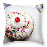 Birthday Party Donut Throw Pillow