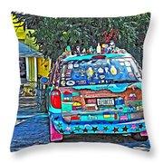 Bisbee Arizona Art Car Throw Pillow