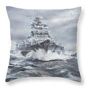 Bismarck Off Greenland Coast  Throw Pillow