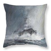 Bismarck Through Curtains Of Rain Throw Pillow