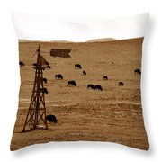 Bison And Windmill Throw Pillow