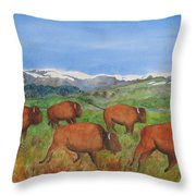 Bison At Yellowstone Throw Pillow