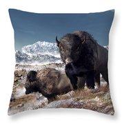 Bison Herd In Winter Throw Pillow