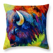 Bison Portrait II Throw Pillow by Marion Rose
