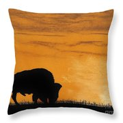 Bison Sunset Throw Pillow