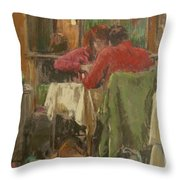 Bistro In Beziers, 2007 Pastel On Paper Throw Pillow