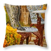 Bistro Table-color Throw Pillow